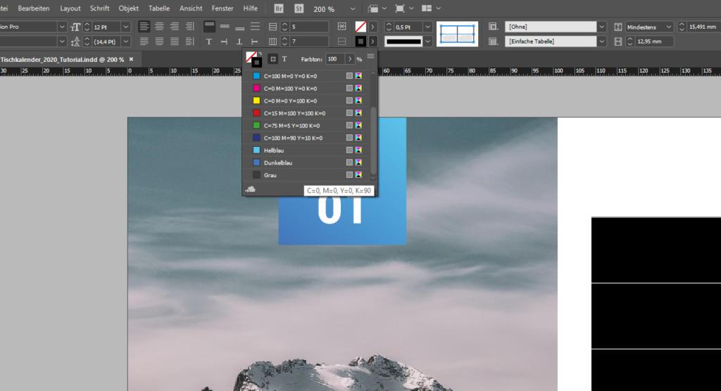 InDesign Tabellen erstellen: Farben