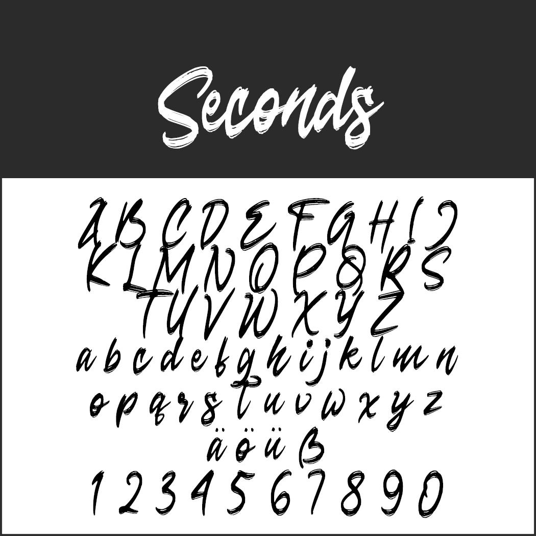 """Coole Schrift """"Seconds"""""""