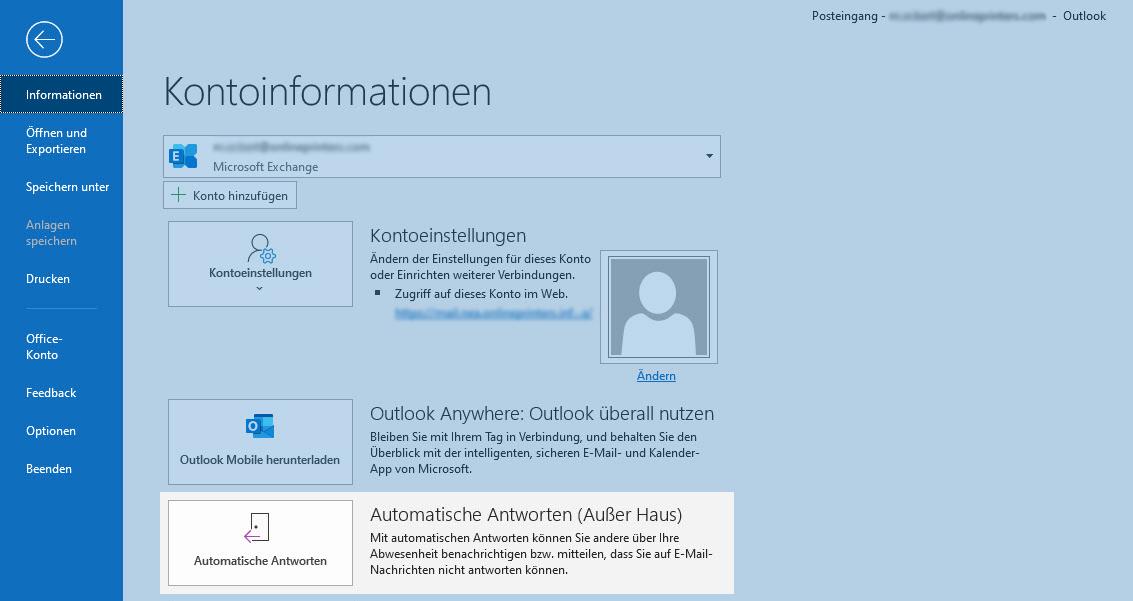 Screenshot - Microsoft Outlook Kontoinformationen